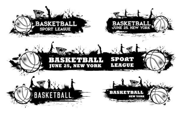 Banner grunge sport basket con giocatori, palla e basket sagome vettoriali nere. attrezzature per campi da basket e giocatori di squadra con pennellate, schizzi di vernice e motivo a mezzitoni
