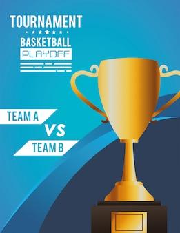 Poster di sport basket con coppa del trofeo