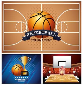 Manifesti sportivi di pallacanestro con palloncino in tribunale