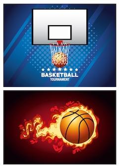 Manifesti sportivi di basket con palloncino in fiamme e cestino