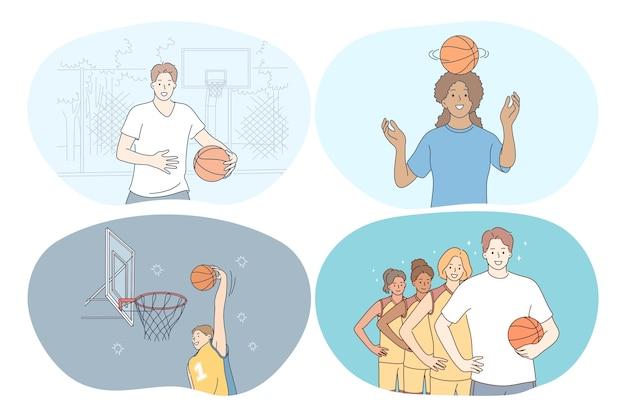 Basket, sport, concetto di competizione a squadre.