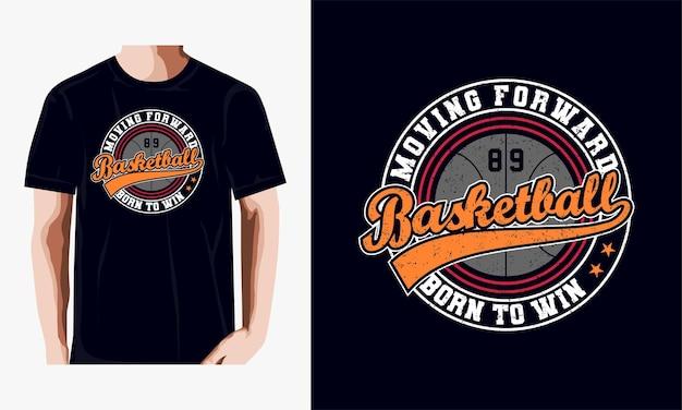 Emblema di tipografia sport basket, grafica timbro t-shirt, stampa t-shirt, abbigliamento atletico.