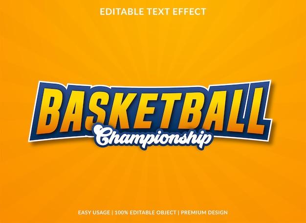 Modello di effetto testo basket utilizzare per il logo aziendale e lo stile premium del marchio