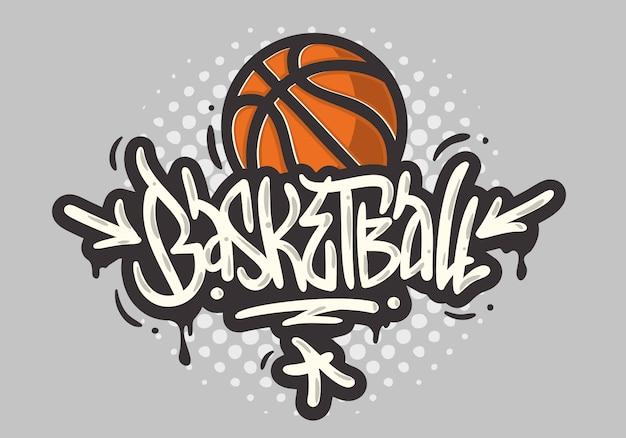 Tipo di stile di etichetta di graffiti di calligrafia di calligrafia disegnata a mano a tema di pallacanestro