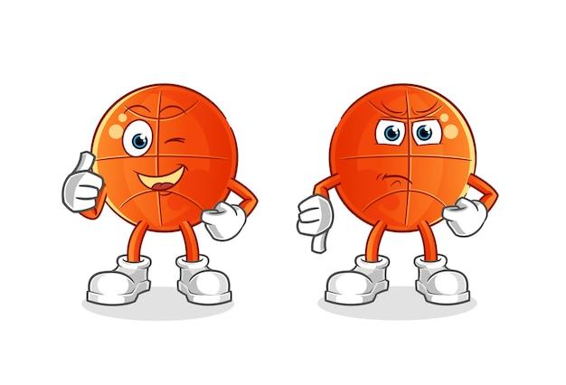 Pallacanestro pollice in alto e pollice in giù cartone animato. mascotte dei cartoni animati