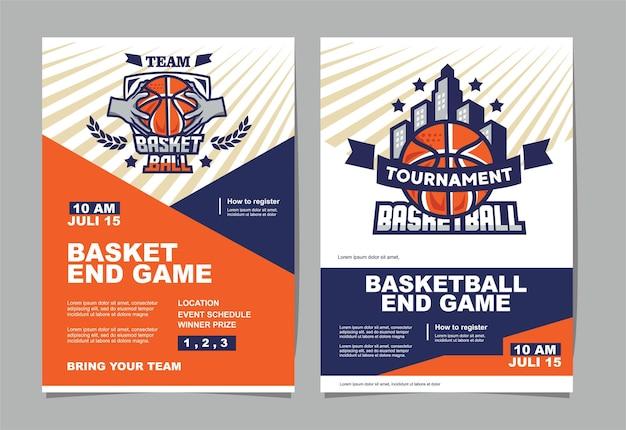 Poster dell'evento del torneo di basket e logo basket di bowling
