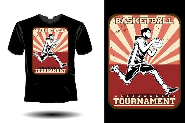 Torneo di basket mockup design vintage retrò