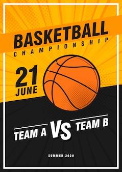 Torneo di basket, design moderno di poster sportivi.