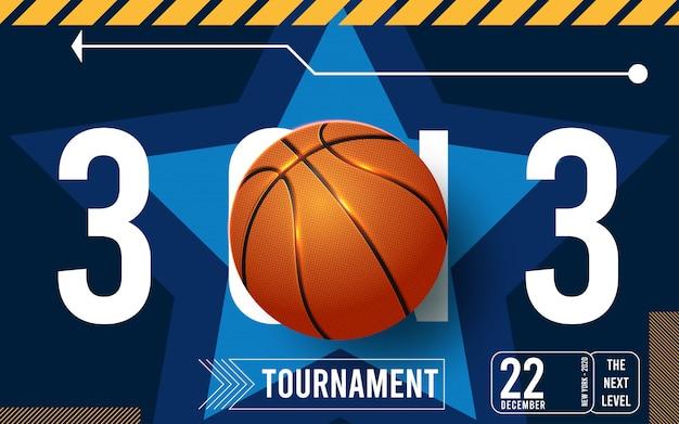 Manifesti del torneo di basket, volantino con palla da basket