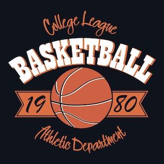 Emblema di tipografia di basket. grafica per timbri t-shirt, stampa per vestiti, design per abbigliamento sportivo. illustrazione vettoriale.