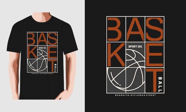 Design della maglietta tipografia da basket vettore premium