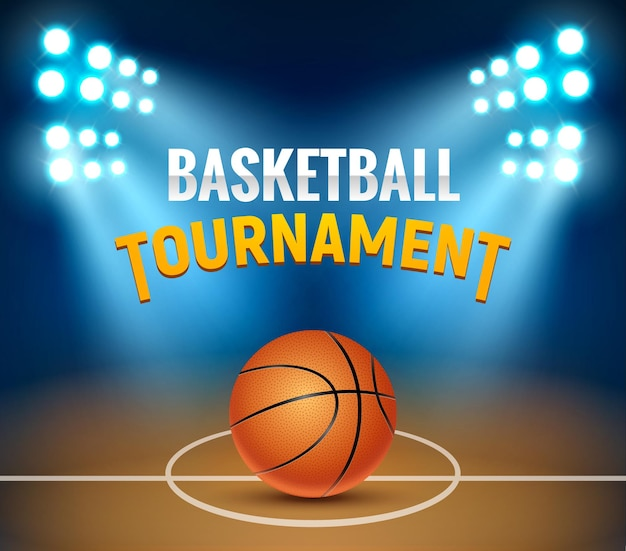 Poster del gioco dell'arena del campo da basket del torneo di basket vettoriale