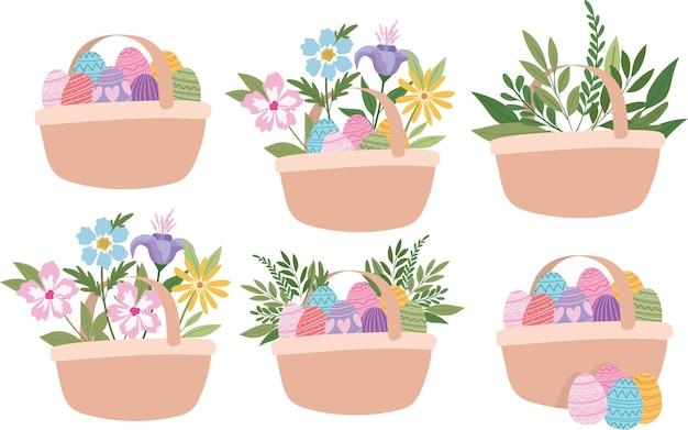 Cesti pieni di progettazione dell'illustrazione delle uova di pasqua, dei fiori e delle piante verdi