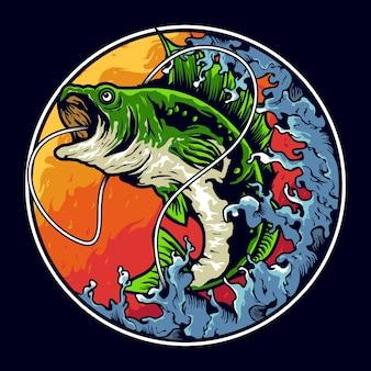 Disegno di marchio dell'illustrazione di pesca della spigola