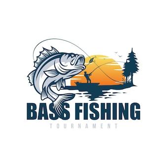 Bass fishing logo isolato su bianco