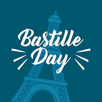 Celebrazione del giorno della bastiglia con la torre eiffel