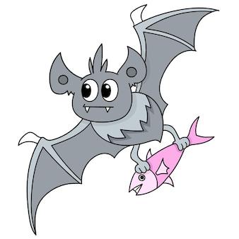 Pipistrello che vola con portare il pesce per il cibo