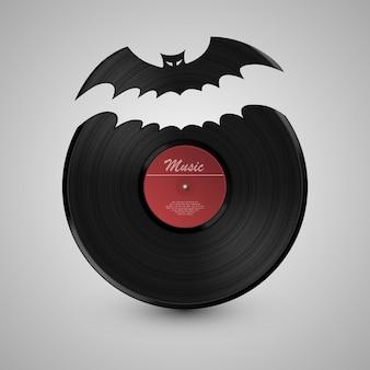 Disco in vinile pipistrello art. disco in vinile. illustrazione vettoriale
