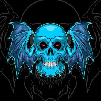 Teschio blu ala di pipistrello