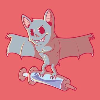 Pipistrello con una siringa illustrazione concetto di design di medicina della fauna selvatica di vaccinazione