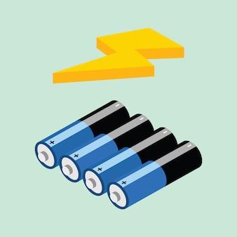Icona isometrica di batery - vetorial