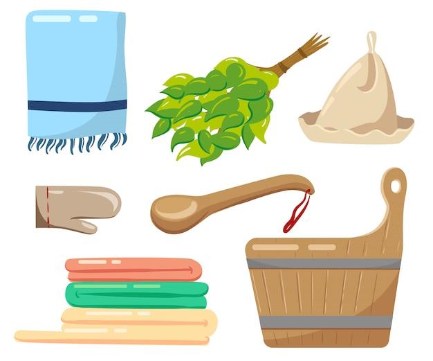 Accessori da bagno rilassante nel concetto di assistenza sanitaria termale. illustrazione su bianco.
