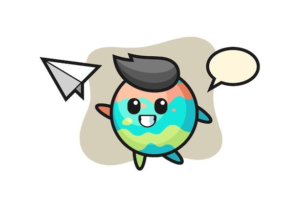Personaggio dei cartoni animati di bomba da bagno che lancia aeroplano di carta, design in stile carino per t-shirt, adesivo, elemento logo