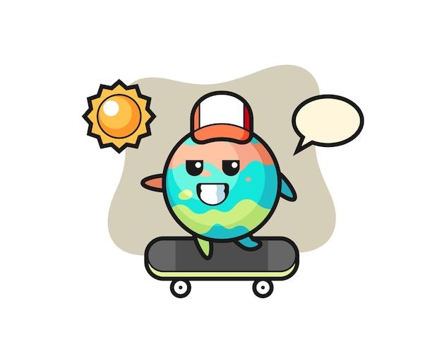 L'illustrazione del personaggio della bomba da bagno cavalca uno skateboard, design in stile carino per maglietta, adesivo, elemento logo