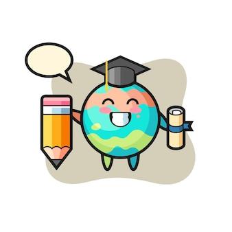 Il fumetto dell'illustrazione della bomba da bagno è la laurea con una matita gigante, un design in stile carino per maglietta, adesivo, elemento logo