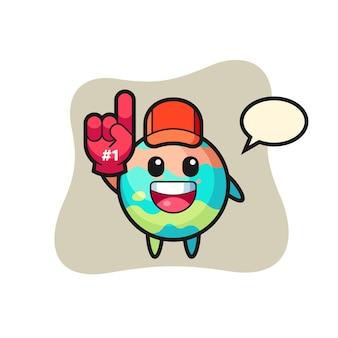 Fumetto dell'illustrazione della bomba da bagno con il guanto dei fan numero 1, design in stile carino per maglietta, adesivo, elemento logo