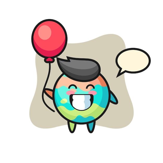 L'illustrazione della mascotte della bomba da bagno sta giocando a palloncino, design in stile carino per maglietta, adesivo, elemento logo