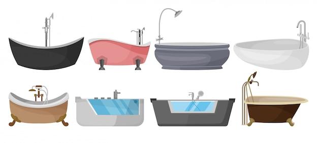 Icona stabilita del fumetto del bagno. vasca da bagno stabilita dell'icona del fumetto isolata.