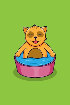 Illustrazione del fumetto del gatto del bagno
