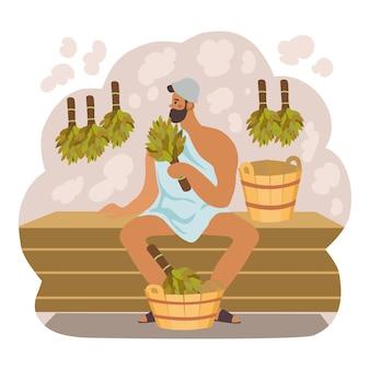 Poster di bagno e sauna con un uomo tiene la scopa in mano.