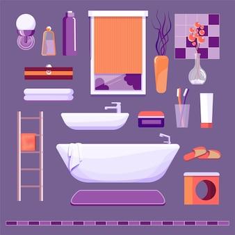 Vasca da bagno, lavabo e altri oggetti interni per il bagno.