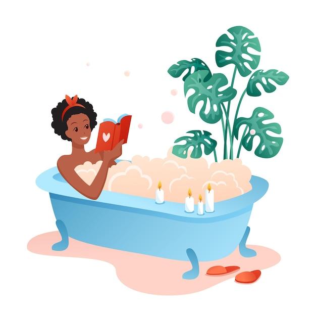 Tempo del bagno. personaggio di giovane donna sdraiata nella vasca da bagno piena di bolle di schiuma di sapone e libro di lettura