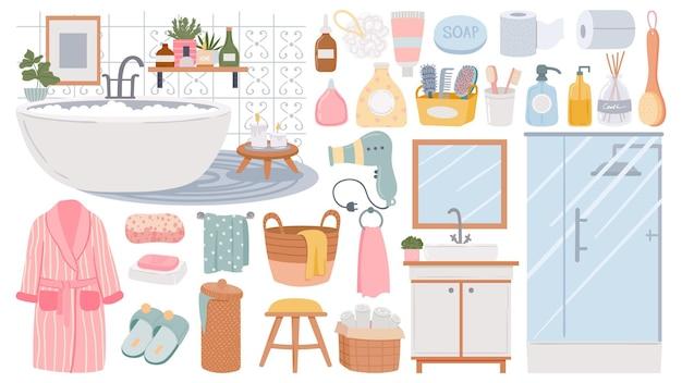 Elementi per il bagno. prodotti detergenti per la cura della pelle e dei capelli. lavandino, doccia, accappatoio e asciugamani, spugna e sapone. insieme di vettore di mobili da bagno. illustrazione di mobili per vasca da bagno, interior design del bagno