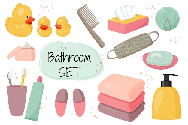 Collezione cartoon di attrezzature per il bagno