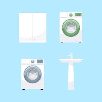 Set di illustrazioni a colori rgb semi mobili da bagno. equipaggiamento per il bagno di destra. lavatrice, lavabo in ceramica, raccolta di oggetti del fumetto armadietto su priorità bassa blu