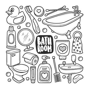 Colorazione di scarabocchio disegnato a mano delle icone del bagno