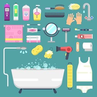 Vettore di simboli delle icone del bagno