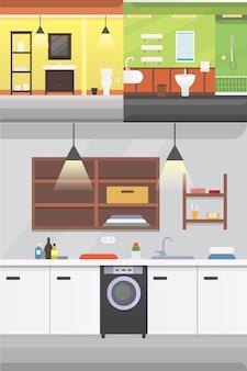 Illustrazione di interni o architettura e mobili del bagno