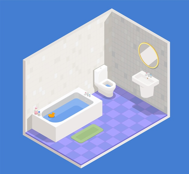 Concetto di interni del bagno con simboli di lavandino e wc