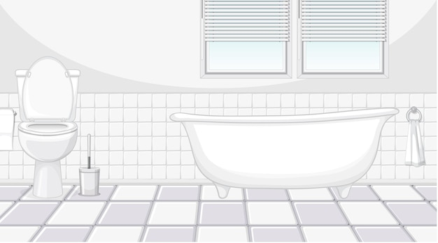 Interior design del bagno con mobili e vasca da bagno