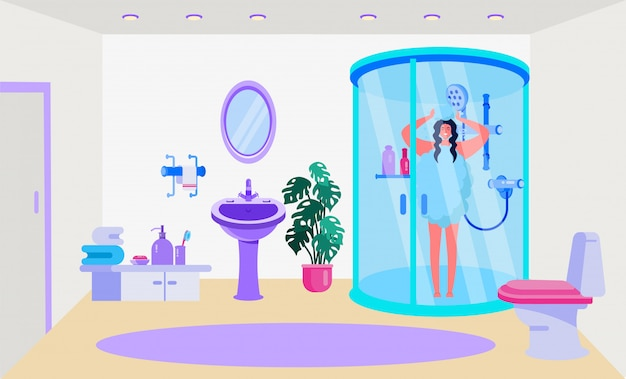 Illustrazione degli infissi interni del bagno. design per la casa, camera con doccia, wc, lavandino e specchio. fourniture per asciugamano, sope