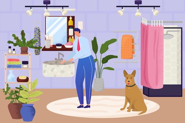 Interiore del bagno con carattere dell'uomo, illustrazione vettoriale. il giovane si lava le mani, il design moderno della stanza per un'igiene pulita, la routine mattutina vicino allo specchio. ragazzo d'affari, cane da compagnia a casa.