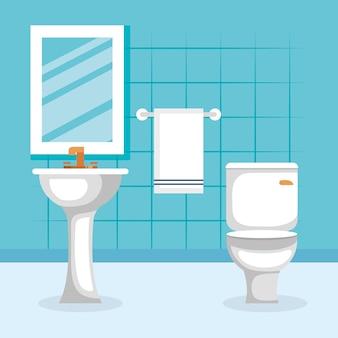 Icona isolata scena del bagno