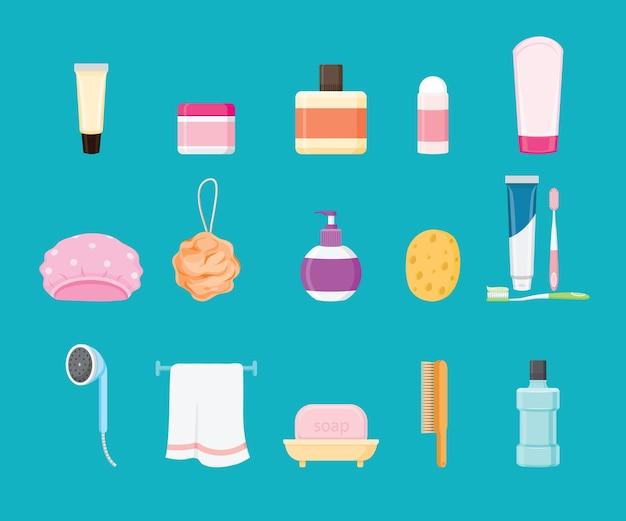 Set di prodotti da bagno isolato sull'azzurro