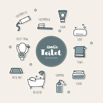 Icone disegnate a mano di doodle della toilette e del bagno messe.
