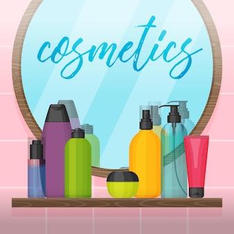 Bagno con specchio e flaconi per la cosmetica colorati sullo scaffale